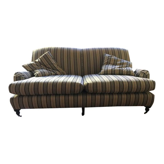 Crate & Barrel Striped Fabric Sofa - Image 1 of 6