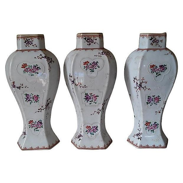 18th Century Antique Samson Armorial Vases - Set of 3 - Image 2 of 6