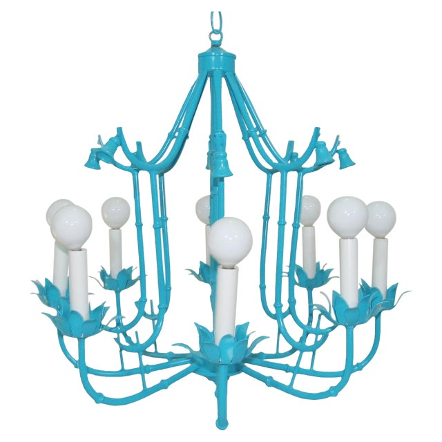 Turquoise Faux Bamboo Pagoda Chandelier - Image 1 of 7