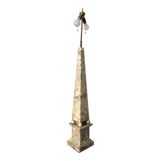 Antique Neoclassical Marble Obelisk Lamp