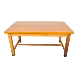 1940's French Country Farmhouse Oak H-Stretcher Dining Table For Sale