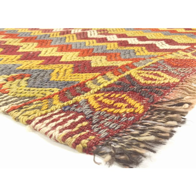 1960s Vintage Turkish Kilim. Hand woven with wool on wool foundation in the Oushak region of Eastern Turkey. Kilims & Flat...
