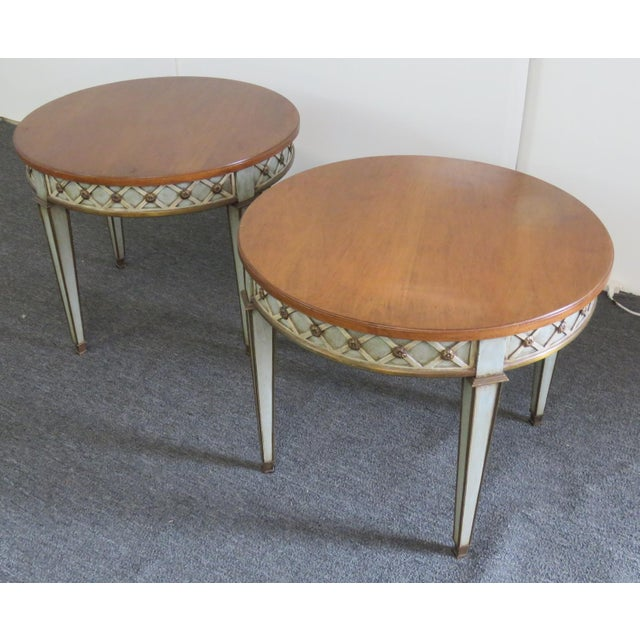 Pair of Regency style distressed paint decorated side tables by Frouailles.