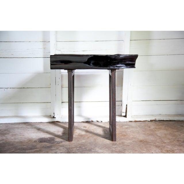 Asian Modern Yakisugi Wood and Metal Side End Table For Sale - Image 12 of 13