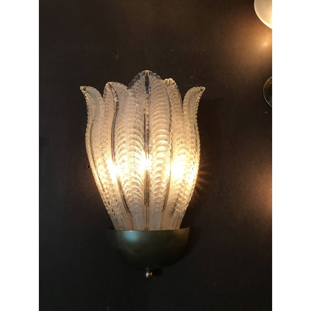 Barovier & Toso Barovier E Toso Murano Glass Leafy Sconces (6 Available) For Sale - Image 4 of 9