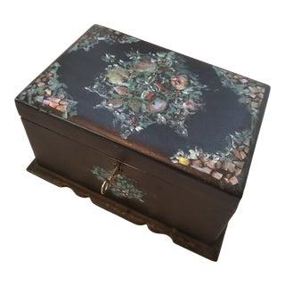 Antique Papier Mache Tea Caddy Box For Sale