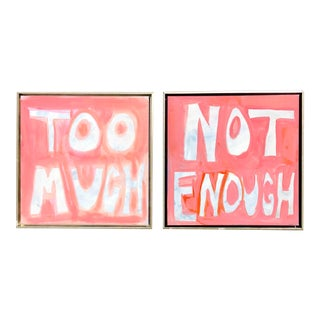 """Too Much, Not Enough,"" Pink Original Paintings, Framed—A Pair For Sale"