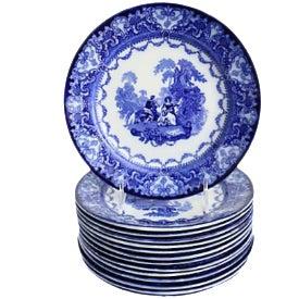 Antique Doulton Flow Blue Watteau Plates - Set of 14 For Sale