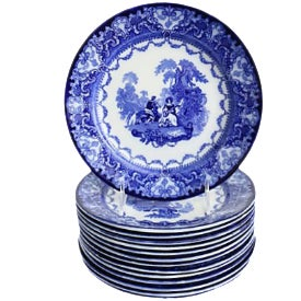 Antique Doulton Flow Blue Watteau Plates - Set of 14 For Sale