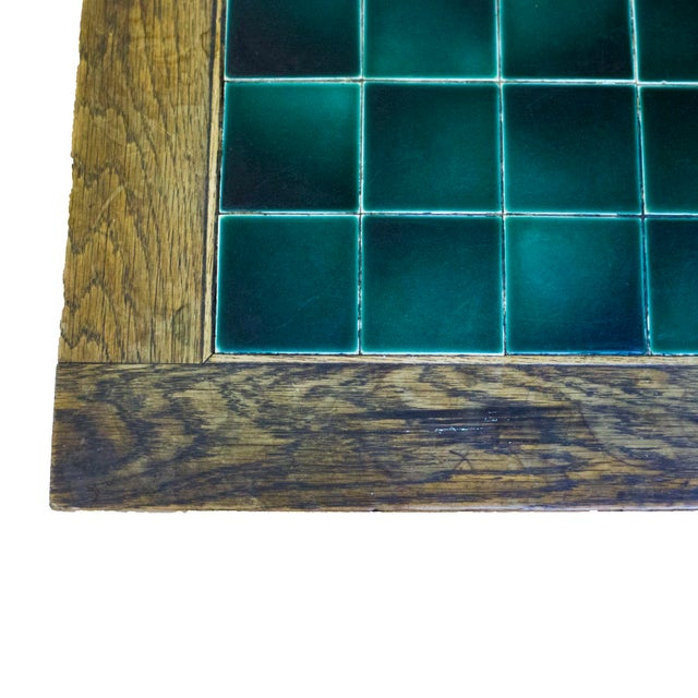 English Antique English Wood and Tile Top Pub Table For Sale - Image 3 of 4