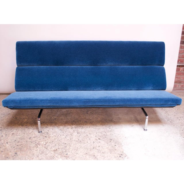 Contemporary Charles and Ray Eames for Herman Miller Chromed-Steel and Mohair Compact Sofa For Sale - Image 3 of 13
