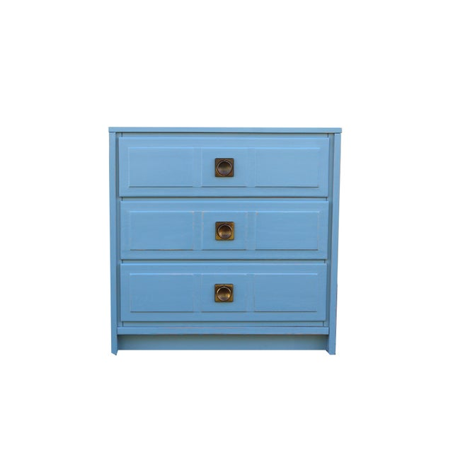 Pair of blue campaign Style 3-drawers nightstands these nightstands have been nicely painted in a mate light blue color...