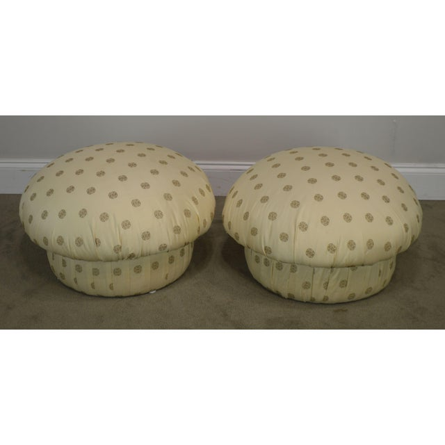 High Quality Vintage Pair of Custom Upholstered Ottomans Labeled Barry Interiors