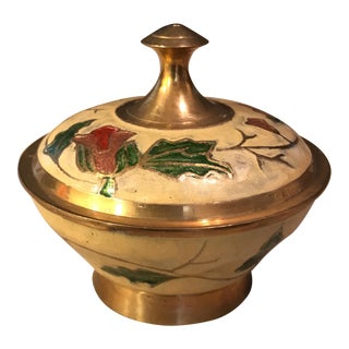 Brass Enamel Trinket Box For Sale