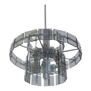 Italian 1970s Double Ring Smoked Glass Chandelier