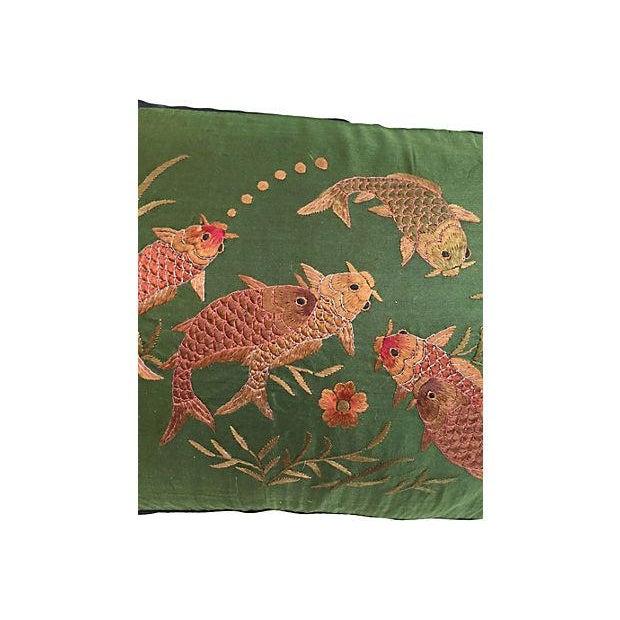 Asian Embroirered Koi Fish Jade Silk Pillow - Image 4 of 5