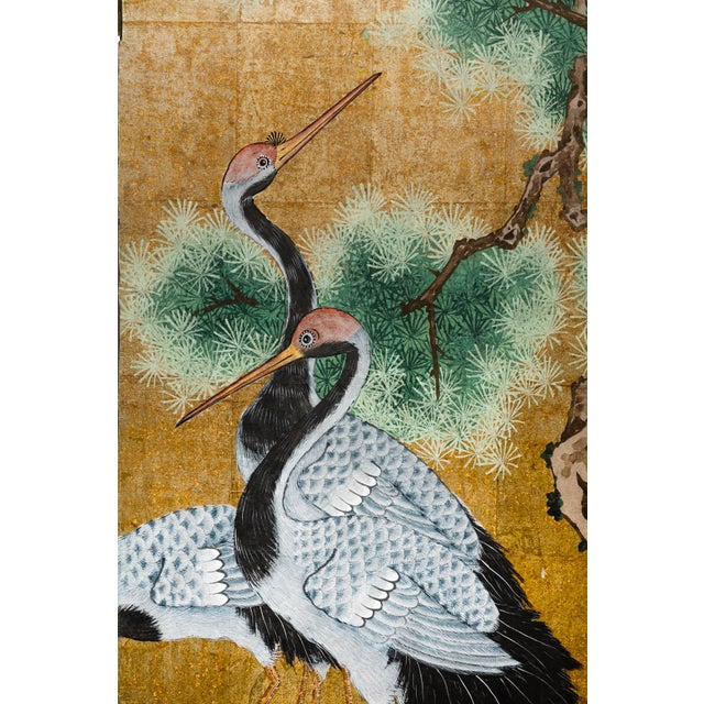"""Metal Japanese Style 2-Panel """"Cranes at Rest"""" Hand-Painted Gold Foil Screen by Lawrence & Scott For Sale - Image 7 of 11"""