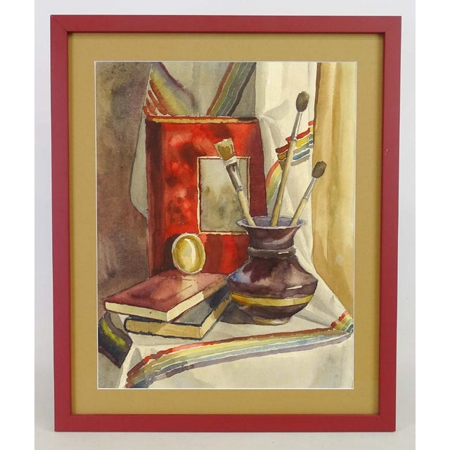 Late 20th Century Late 20th Century American School Framed Still Life Watercolor Painting For Sale - Image 5 of 5