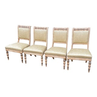 19c Style Charles Pollock for William Switzer Russian Imperial Dining Chairs W Fortuny Seats - Set of 4 For Sale