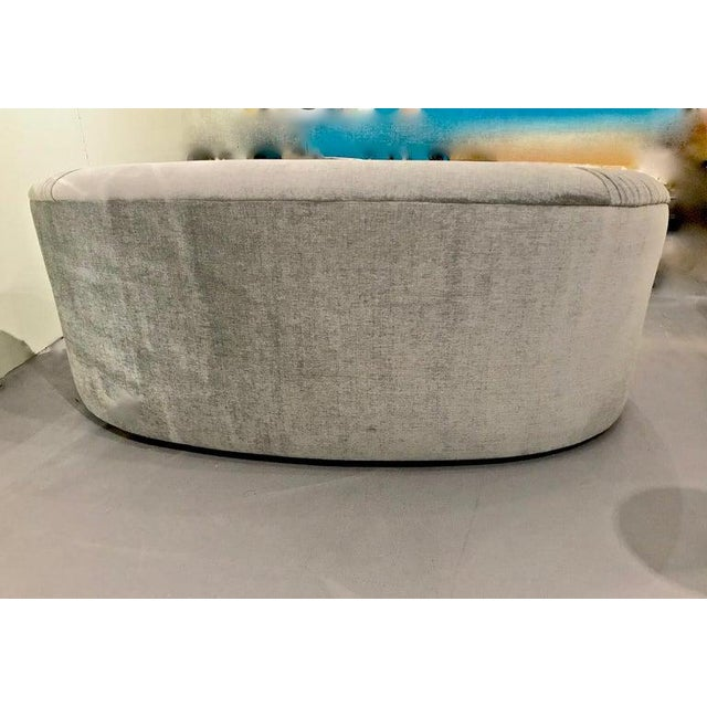 Contemporary Upholstered Curved Sofa For Sale - Image 4 of 7