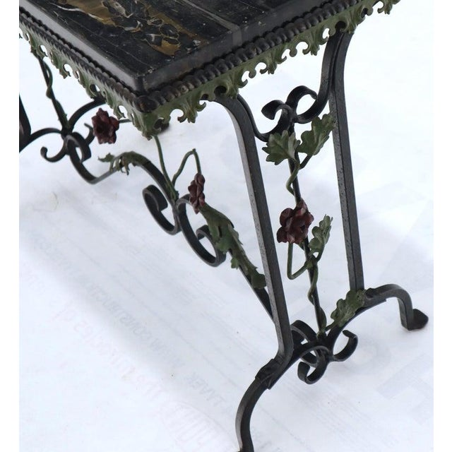 Black Marble Top Ornate Wrought Iron Side Console Table For Sale - Image 12 of 13