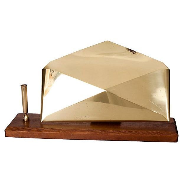 Very unique office desk organizer for your mail with a brass letter rack in the form of a floating envelope. Envelope is...