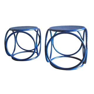 Round Rattan Cubes - A Pair