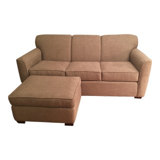 Craftmaster Beige Sofa With Ottoman For Sale