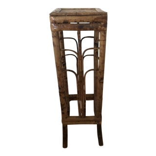 Vintage Burnt Bamboo Plant Stand Lamp Table For Sale