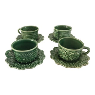 Bordallo Pinheiro Green Majolica Teacups & Saucers - Set of 4 For Sale