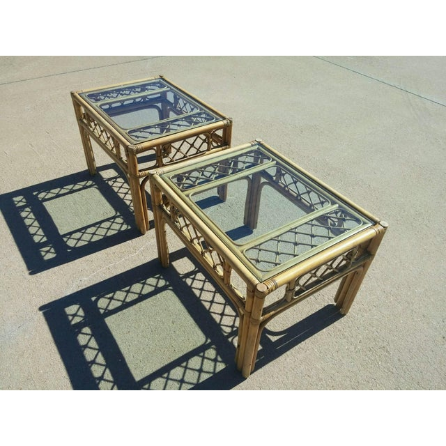Mid Century Faux Bamboo Tables - Pair - Image 3 of 4
