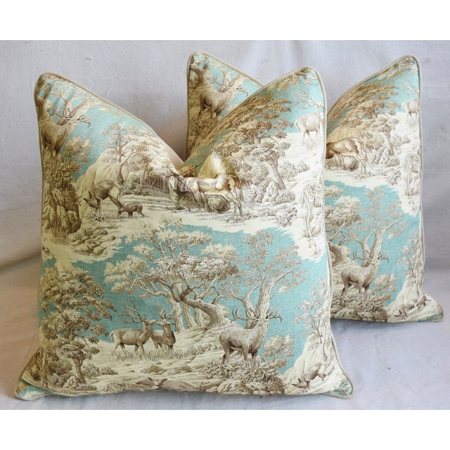 "Woodland Toile Deer & Velvet Feather/Down Pillows 25"" Square - Pair For Sale - Image 13 of 13"