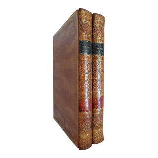 Early 19th Century Decorative Leather Books, Rev. George Crabbe's Tales of the Hall - a Pair For Sale