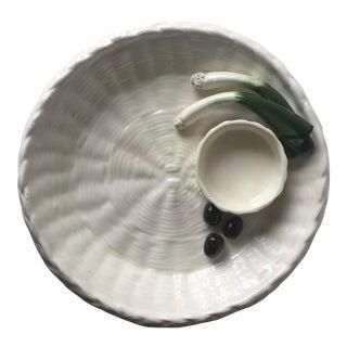 Vintage Tromp L'oiel Serving Dish-Scallions & Olives For Sale