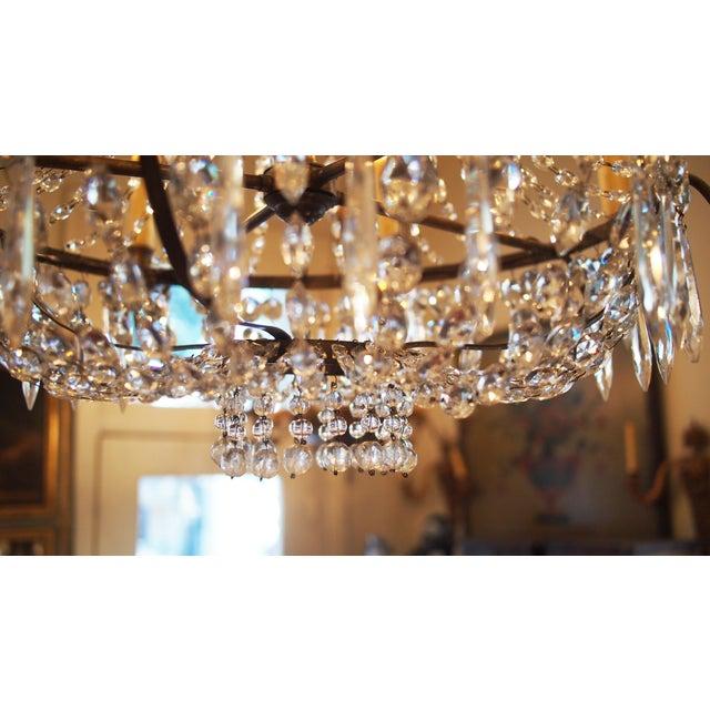 Italian Italian Basket Form Eight Light Crystal Chandelier For Sale - Image 3 of 9