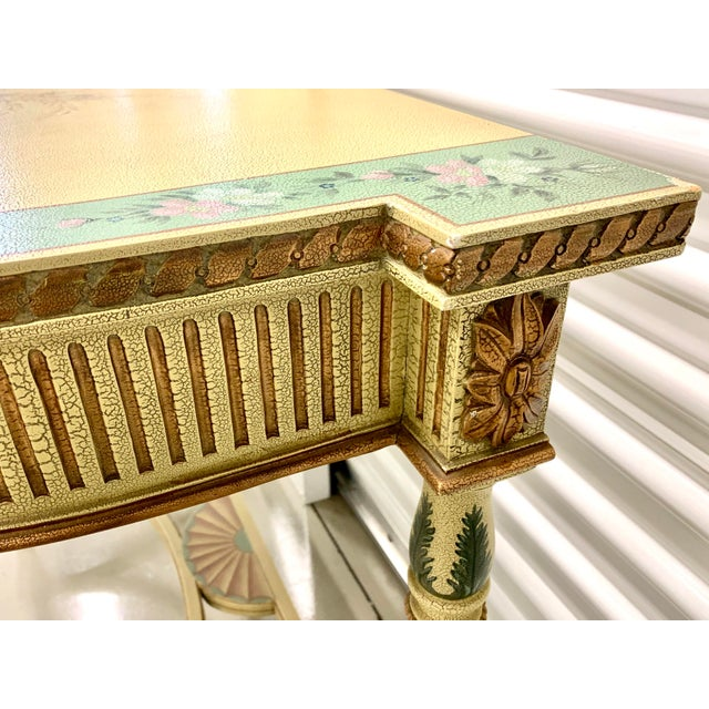 French Country Hand Painted Maitland Smith Console Table For Sale In New York - Image 6 of 11