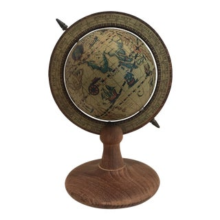 Mid Century Papier-Mâché Globe on Wooden Stand Desk Accessory For Sale