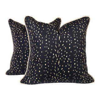Black and Cream Silk Speckled Pillows, a Pair For Sale