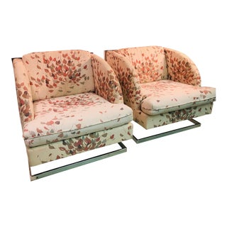 Pair of Milo Baughman Chairs With Unusual Design For Sale