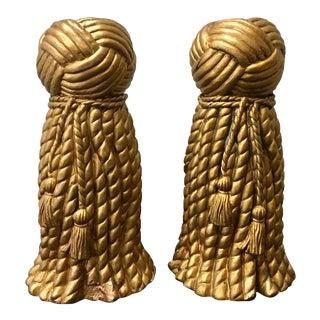 Vintage 1991 Korean Gold Tassel Candleholders - a Pair For Sale