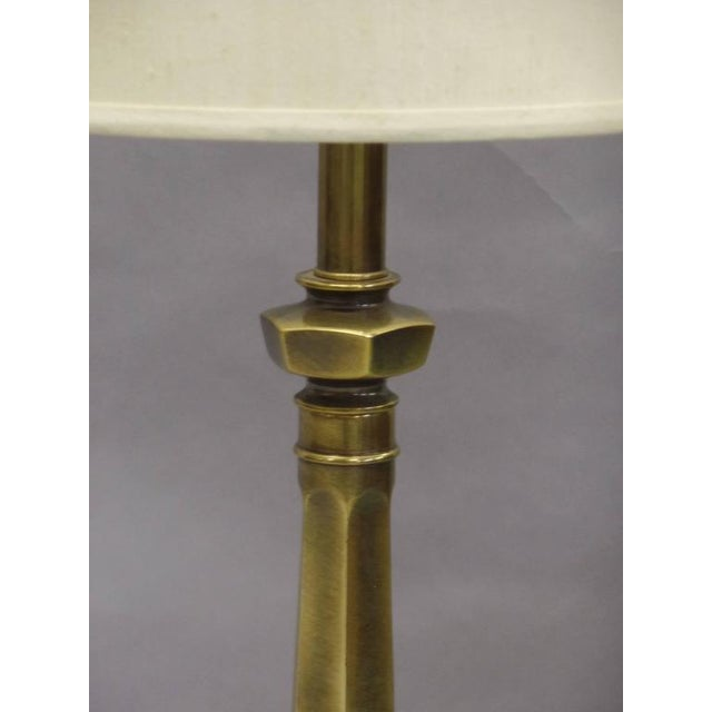 1950s Pair of British Mid-Century Brass Baluster Table Lamps For Sale - Image 5 of 9