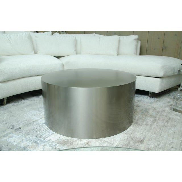 Milo Baughman for Thayer Coggin Milo Baughman Brushed Steel Drum Table For Sale - Image 4 of 4
