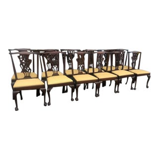 Antique Chippendale Style Mahogany Dining Chairs - Set of 12 For Sale