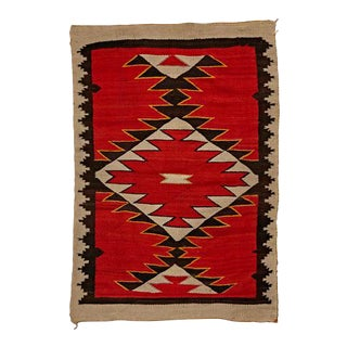 Red Mesa Navajo Pound Rug in W/ Yellow Highlights Circa 1900