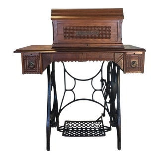 Antique Demorest Coffin Top Treadle Sewing Machine For Sale
