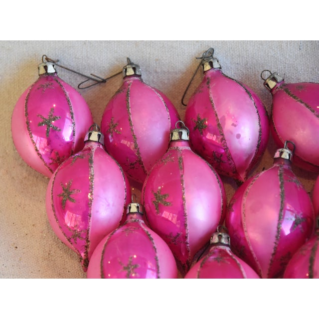 Adirondack Pink Vintage Colorful Christmas Ornaments W/Box - Set of 12 For Sale - Image 3 of 7