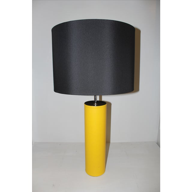 George Kovacs Yellow Leather Cylinder Lamp - Image 2 of 4