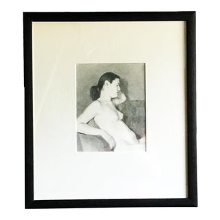 Contemporary Seated Female Nude Graphite Drawing, Framed For Sale