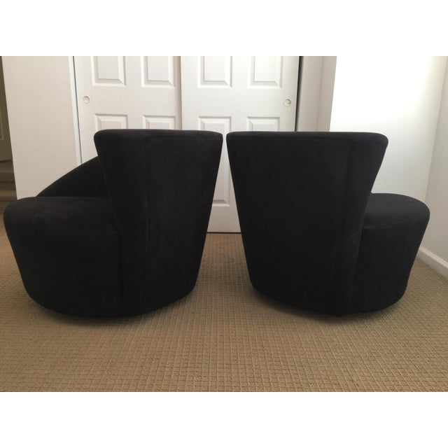 1980s Sculptural Vladimir Kagan Directional Nautilus Swivel Lounge Chairs, Black For Sale - Image 5 of 12