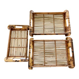 Vintage Tortoise Bamboo and Rattan Trays - Set of 3 For Sale